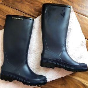 Authentic Burberry Navy Rain Boots